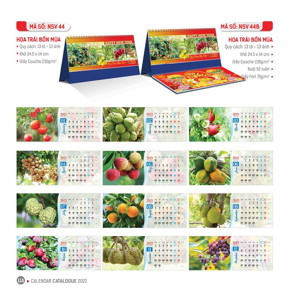 Lịch Bàn Hoa Trái Bốn mùa