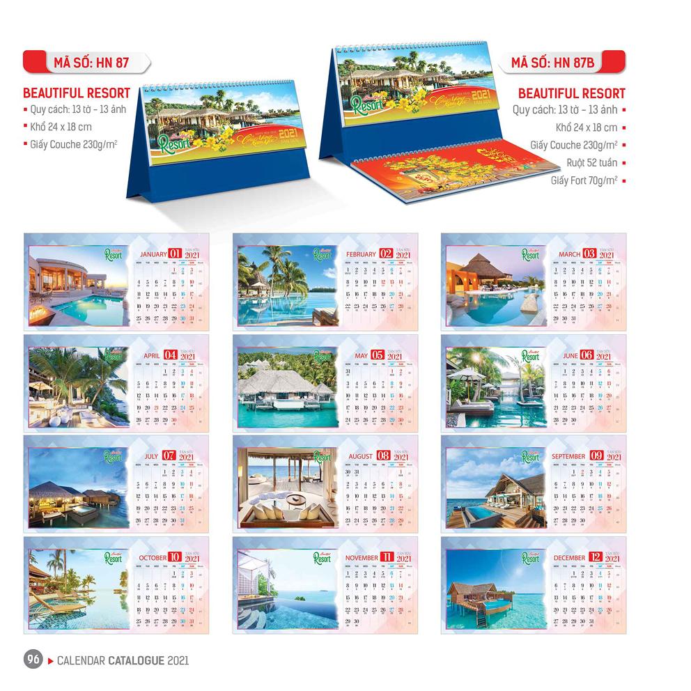 Lịch bàn - Beautiful Resort